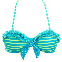 Polka Dots & Stripes Ruffled Bikini Top: Charlotte Russe