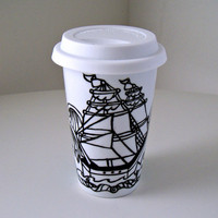 Ceramic Travel Mug Nautical Ship Tattoo Sailor Ocean Waves eco cup Painted black white Aqua Blue scales scallops - MADE TO ORDER