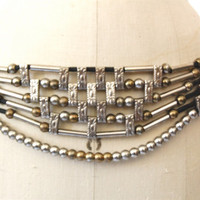 Vintage 80's beaded tribal statement belt / silver brass black cording / boho ethnic  M L medium large