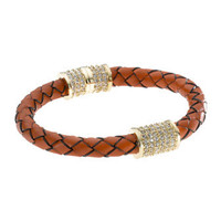 Michael Kors Braided Leather Crystallized Bracelet, Orange, Golden - Michael Kors