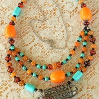Antique Yemen Silver Amulet Bridal Amber Turquoise Glass Necklace