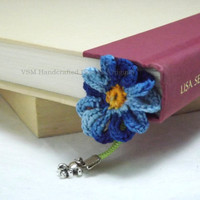 Forget Me Not Crochet Flower and Ribbon Bookmark