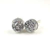 Tiny Silver Druzy Post Stud Earrings Silver by DoolittleJewelry