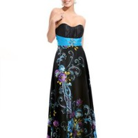 Amazon.com: Ever Pretty Floral Printed Strapless Rhinestones Satin Ruffles Prom Dress 09620: Clothing