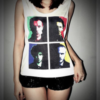 Coldplay Shirt Pop Art Crop Top Tank Tops SideBoob Size S, M, L