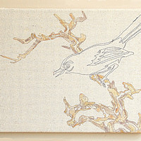 textile wall hanging tapestry  Japanese bird ink by MandyBesek