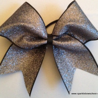Grey Gun Metal Glitter on Black Cheer Bow Hair by SparkleBowsCheer