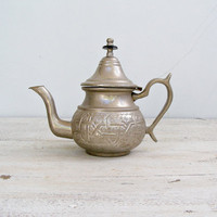 Ornate Oriental Teapot, Silver shade pitcher, Vintage teapot, Retro kitchenware, collectible, Restaurant decor, Kitchen Display