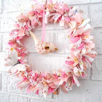 Pastel Whimsical Bird Wreath - baby, toddler, mobile, room, pink, gift, nursery - by BubbyMakesThree on madeit