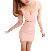 Amazon.com: Allegra K Ladies Zip Up Backless Form-fitting Sweetheart Neckline Sexy Dress Light Pink XS: Clothing