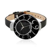 Big Number Dial Rhinestone-Studded Watch