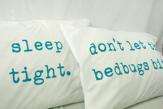 Printed Pillowcases Turquoise on white cotton by UrbanBirdandCo