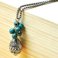 Silver Charms Turquoise Long Necklace