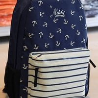 [grdx02046]Cute Blue Anchor Backpack