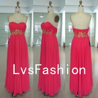 Strapless Sweetheart with Beading Chiffon Prom by LvsFashion