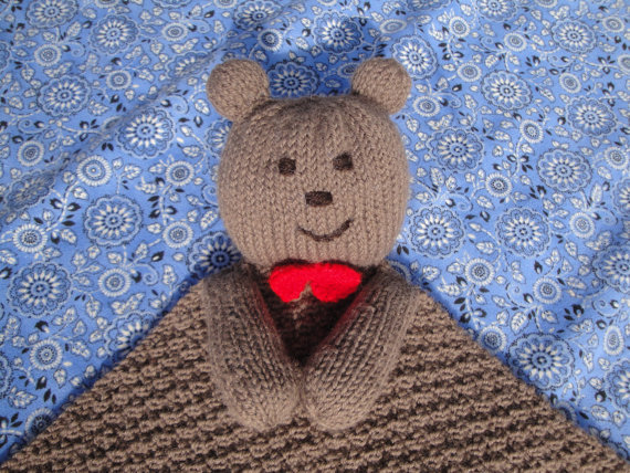 Knitting Pattern For Security Blanket : Beary Special Baby Lovie PDF Knitting from Girlpower on Etsy