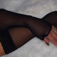 Black fishnet fingerless gloves with wide lace trim