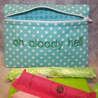 Oh Bloody Hell Tampon &amp; Maxi Pad Case Mint Green Zippered Fabric Purse Pouch / Tampon Keeper