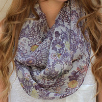 Floral Scarf, Infinity Scarf, Circle Scarf, Eternity Scarf, Purple, Cream, Peach, Gold, Green