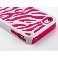 Pandamimi Zebra Combo Hard Soft High Impact Armor Skin Gel Case with Free Screen Protector and Stylus for iPhone 4/4S/4G - Pink/White: Cell Phones &amp; Accessories