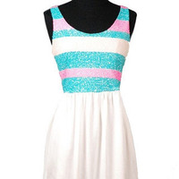 A Kiss For Luck Sequin Dress - Teal + Pink -  $58.00 | Daily Chic Dresses | International Shipping