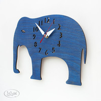 The Big Blue Elephant designer wall mounted clock from by LeLuni