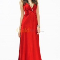 Red Deep V-Neck Brooch Floor Length Satin Evening Dress