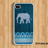 Blue Elephant and Blue Aztec Design Case : Iphone 4/4s case Iphone 5 case