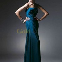 Simple Sheath Strapless Satin Chiffon Evening Dress