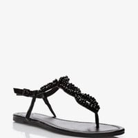 Bejeweled Cutout Thong Sandals