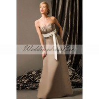 Strapless A-line floor-length satin bridesmaid dress
