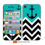 Iphone 5 4 4s Skin Cover - Chevron Pattern with anchor- decal sticker