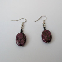Purple Turquoise Earrings with Black Glass