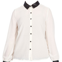 Leather Detail Shirt in White