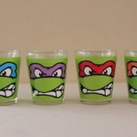 Teenage Mutant Ninja Turtle-Faces-Shooter Set of 4- 1.5&amp;quot;: Kitchen &amp; Dining