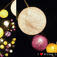 Purple Yellow and White Cotton Ball String Lights For Wedding and House decoration (20 Flowers/Set)