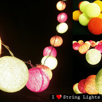 Bright Green Orange and Yellow Gold Colour Set Cotton Ball String Lights For Wedding and House decoration (20 Flowers/Set)
