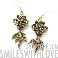 SALE Goldfish Fish Sea Animal Dangle Earrings in Brass