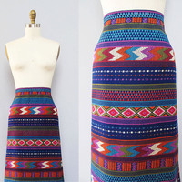 1970s boho wild print striped long cotton skirt L