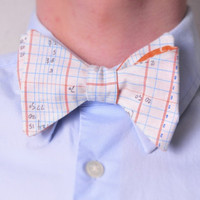 Reversible Math Paper Clip Orange Freestyle Hand Tie Bow Tie