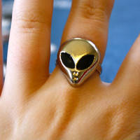 3 left- VTG 90's Goth Alien Cocktail Ring