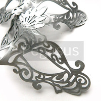 Bridal SILVER Venetian Mask (1 Mask) Lace Pattern Venetian Plastic Molded Mask Base - Masquerade ball costume or Vampire Ball