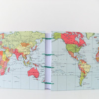Handmade map journal World Map Journal World by peonyandthistle