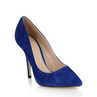 Royal Blue Suede High Heel Pointed Toe Court Shoes