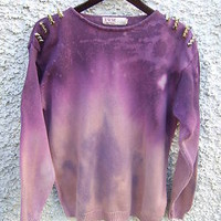 Dip Dye Ombre Galaxy Purple Jumper Sweater Top Oversize Gold Spiked Studded Stud