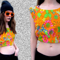 Orange Floral Psychedelic Neon Crop Top Trippy Summer Shirt