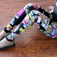 MARILYN MONROE Face Pop Art Comic Print Stretch Lycra Leggings XS S M L