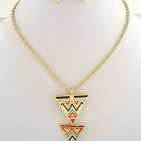 Turquoise, Coral, Gold Geometric Tribal Triangle Trio Necklace &amp; Earrings Set