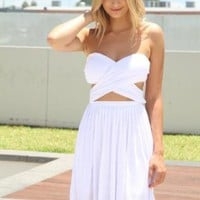 White Strapless Cross Over Wrap Dress with Cutout Detail