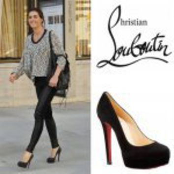 Christian Louboutin Bianca 140mm Suede Platform Pumps Black